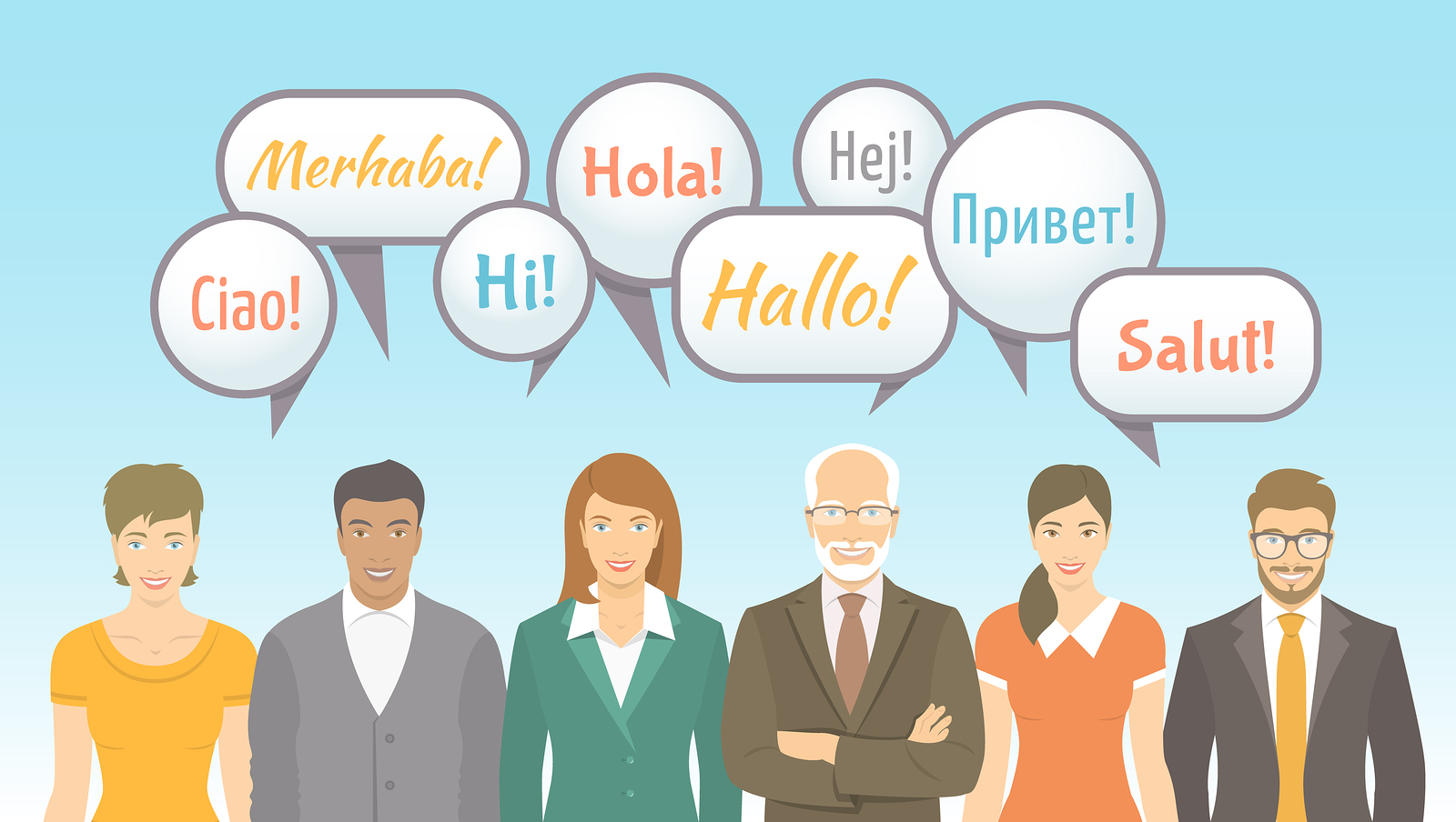 Foreign language school for adults conceptual banner with group of men and women of different ages and lifestyles saying hello.