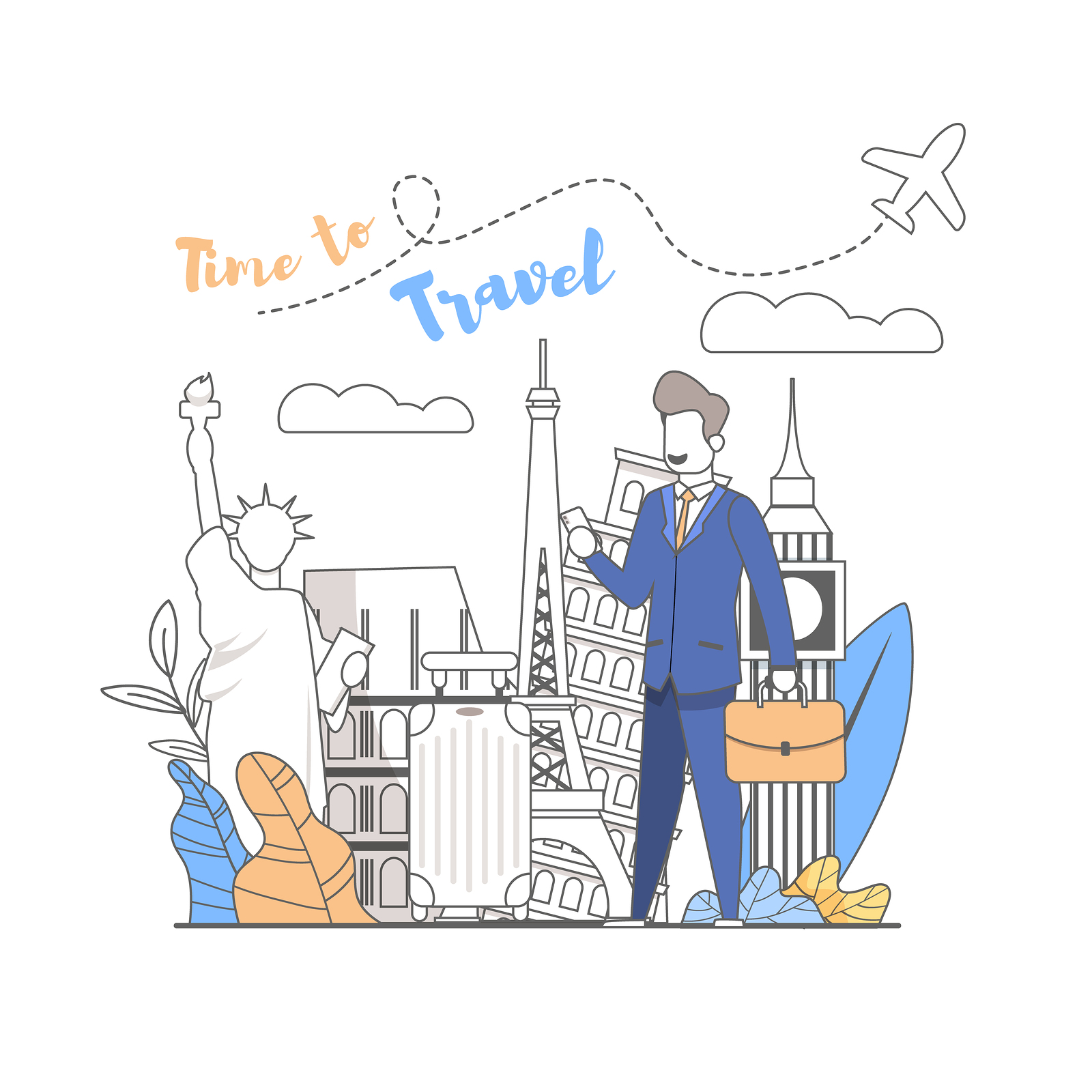 Travel Time. Young Man On The Phone Chooses Where to go Travel. Different Countries World are open Rest. Businessman Book Hotel through Smartphone. Advantageous Offer. Vector Illustration.