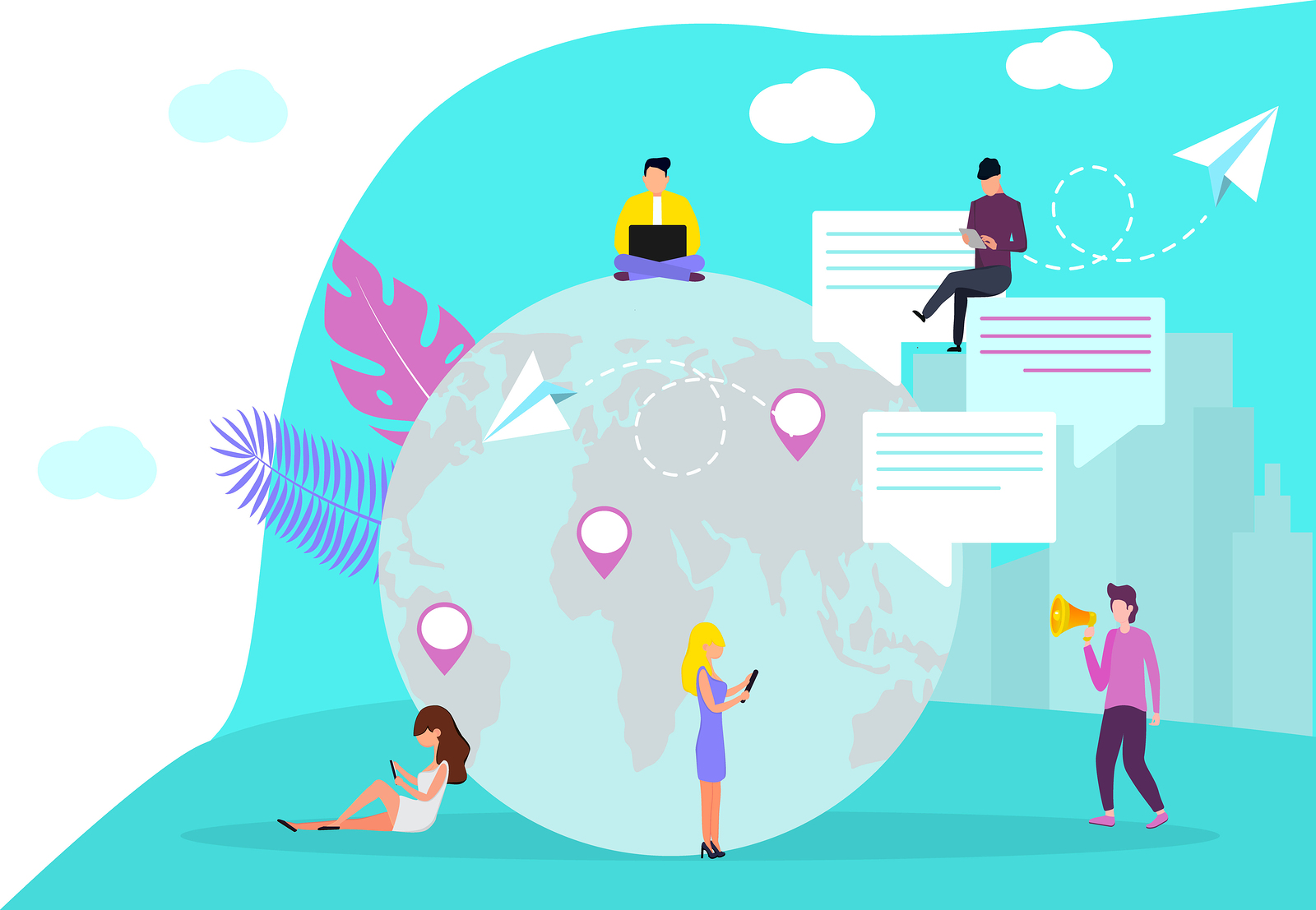 Globalisation flat vector, people around the globe connection concept. International business network relationships. World wide web internet technology