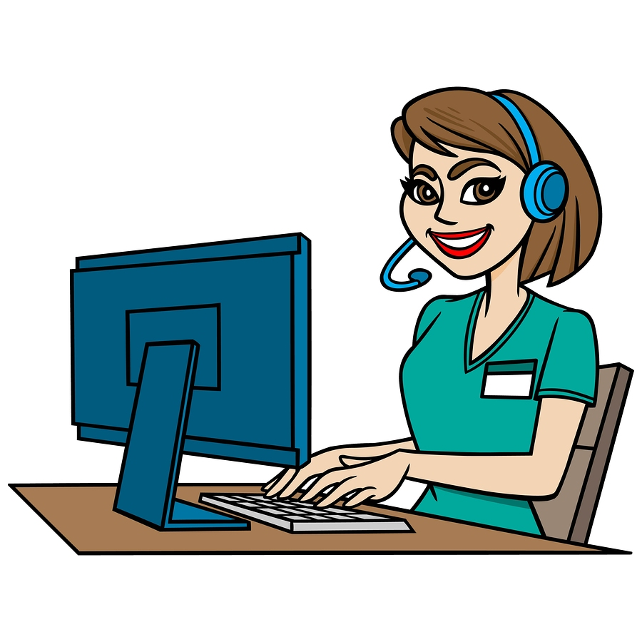 A vector illustration of a medical transcription worker.