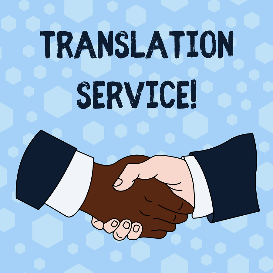 Word writing text Translation Service. Business concept for the Equivalent Target Language from the Mother Tongue Hand Shake Multiracial Male Business Partners Colleagues Formal Shirt Suit.